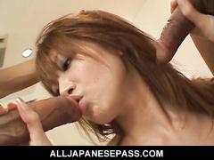 Petite Asian babe Rika Sakurai shows off her twat