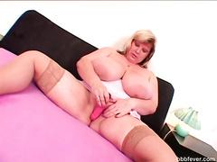 Busty BBW hottie June licks tits and fucks pussy