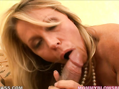 Hot blonde MILF Nikki Charm blowing big hard cock