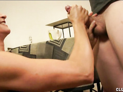 Horny mom Mrs. LeChance helps big boy's cock cum