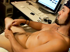 Straight dude Bam drains huge cock in the dorm room
