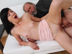 Teen hottie Alisa learns how to serve mature cocks