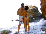 Tattooed latina teen hottie fucks cock on the beach