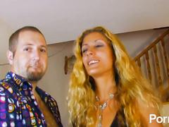 Petite Spanish blonde babe takes massive cum load