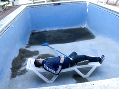 Horny punk girl entertaines with a cock of pool boy