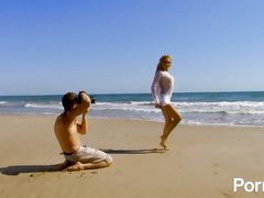 Hot blonde French beauty ass fucked on the beach