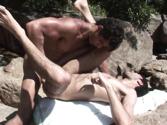 Nice love-making scene by tender gays in nature