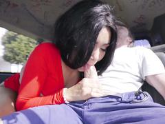 Uninhibited Ebony Aaliyah Hadid in red dress gets fucked in bang bus