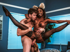 Lascivious man had never had sex with Ebony babe Sarah Banks in fox suit before