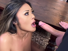 Deepthroat blowjob and pussy fucking for Oriental babe Kaylani Lei