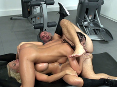 Adriana Chechik squirts several times during threesome in the gym