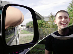 Boy takes a look at Abella Danger's ass that mom sticks out of car window