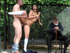Old man's daughter Abella Danger is pussyfucked in his presence