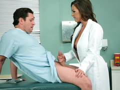 Sexy mom Abigail Mac plays the role of doctor to suck erect cock of patient