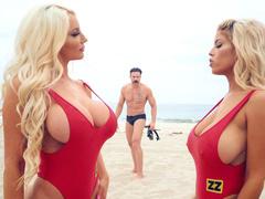 Lifeguard moms Bridgette B and Nicolette Shea play with big tits