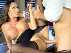 Lascivious guy fucks buxom office woman Ariella Ferrera cheating on GF