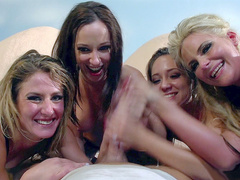 Dancers Jada Stevens, Phoenix Marie, Remy LaCroix, and Sheena Shaw suck one dick