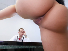 Love with hot temper Katrina Jade tempts boss with cleavage and naked pussy