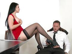 Tattooed girl Katrina Jade in black stockings tempts man in office