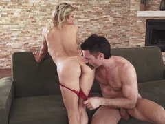 Mustached lover licks pussy of mom Alexis Fawx to prepare it for fuck