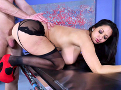 Patient penetrates vagina of mom Ava Addams in stockings and heels