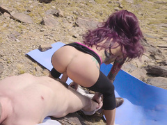 Topless mom Monique Alexander in ripped leggings rides cock outdoors