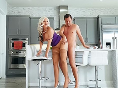 Guy impales girlfriend's stepmom with big tits Alena Croft in kitchen