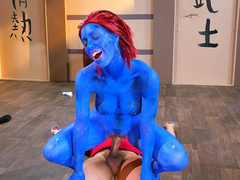 Blue mom Nicole Aniston tries threesome with Cyclops and Wolverine