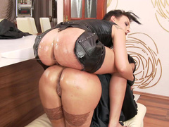 Anissa Kate and Amel Annoga in black are penetrated by XXX fucker