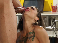 Busty young woman Bonnie Rotten with inked body didn't care she was caught sucking