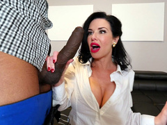 Ebony guys let real estate agent Veronica Avluv orally worship their dicks