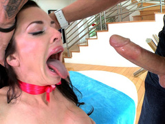 Dirty cougar Veronica Avluv gags on hard fuckstick in very sloppy way