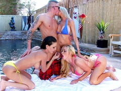 MILF from Canada Nikki Benz and besties are penetrated outside XXX studio
