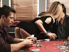 Busty blonde wife cheats on her hubby in poker game