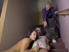 Old woman's daughter Eva Lovia sucks gardener's cock on the stairs