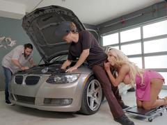 Curvaceous mom Nicolette Shea is sucking mechanic behind back of husband