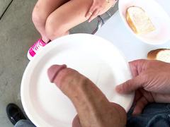 Stunning girl Aidra Fox sucks delicious sausage of naughty cameraman