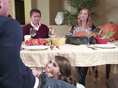 Lewd slut Madison Ivy wanted it for so long and that day she dared to suck BF at dinner