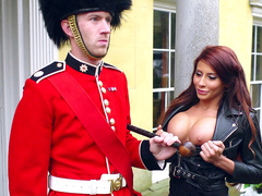 Shameless mom Madison Ivy teases Queen's Guard showing big tits