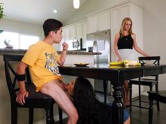 Maya Bijou blows her stepbrother under the kitchen table - Bangbros 4k