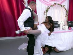 Mature ebony bride Diamond Jackson getting fucked on a table