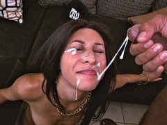 Nadia Valdez takes a monster facial blast all over her dark face