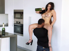 Valerie Kay pours champaign all over her black lover