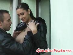 Sexy beauty Jana gives deepthroat blowjob outdoors