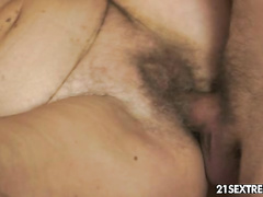 Hot granny whore enjoys big young rod for breakfast