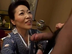 Japanese granny takes a blowjob