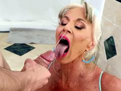 Milf Sally D'Angelo gets blasted with Jordi's fresh hot cum