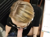 Cute office secretary sucks off her boss and swallows his sperm before going home to her husband