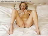 Amazing amateur pornstar masturbates and fucks herself by dildo on the bed