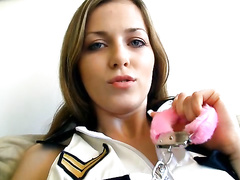 Dangerous police girl turns on for solo sex fun
